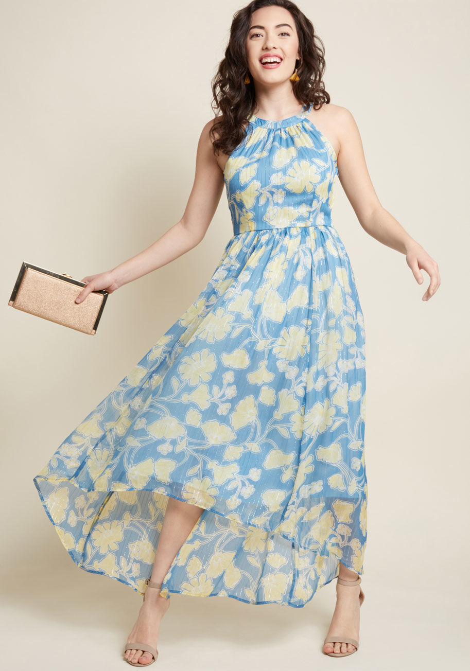 New Whirl Maxi Dress in Blue Floral Beautifulfeed