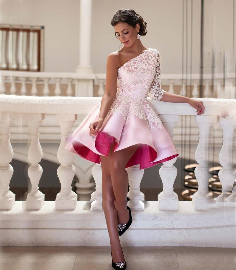 One Shoulder Short Lace Satin Ball Gown beautifulfeed