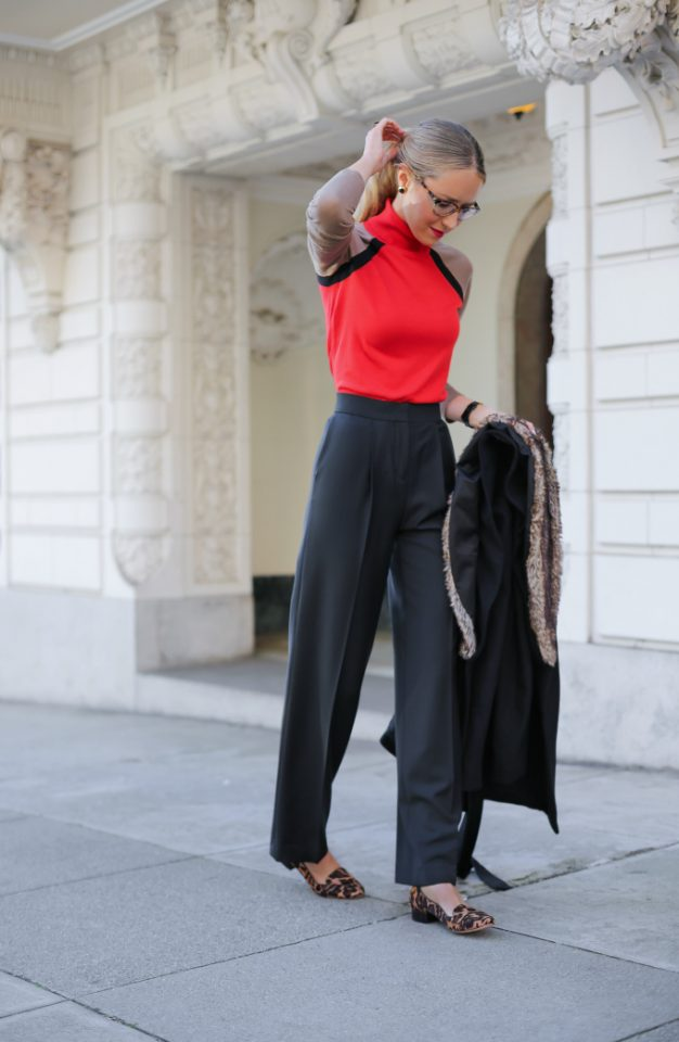 Red Turtleneck and Black Flare Pants Beautifulfeed