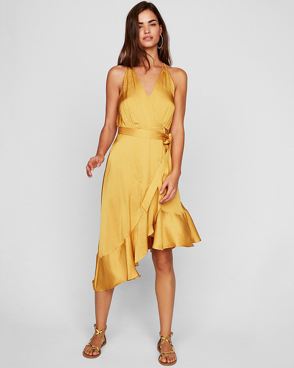 Ruffle Wrap Midi Dress Beautifulfeed