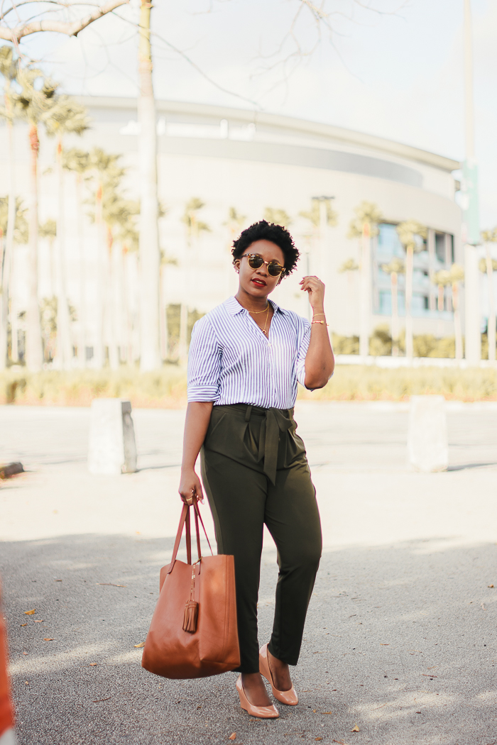 Striped Shirt, Olive Paper Bag Pants & Nude Wedges Beautifulfeed
