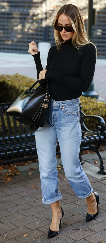 Turtleneck Sweater and Jeans Beautifulfeed