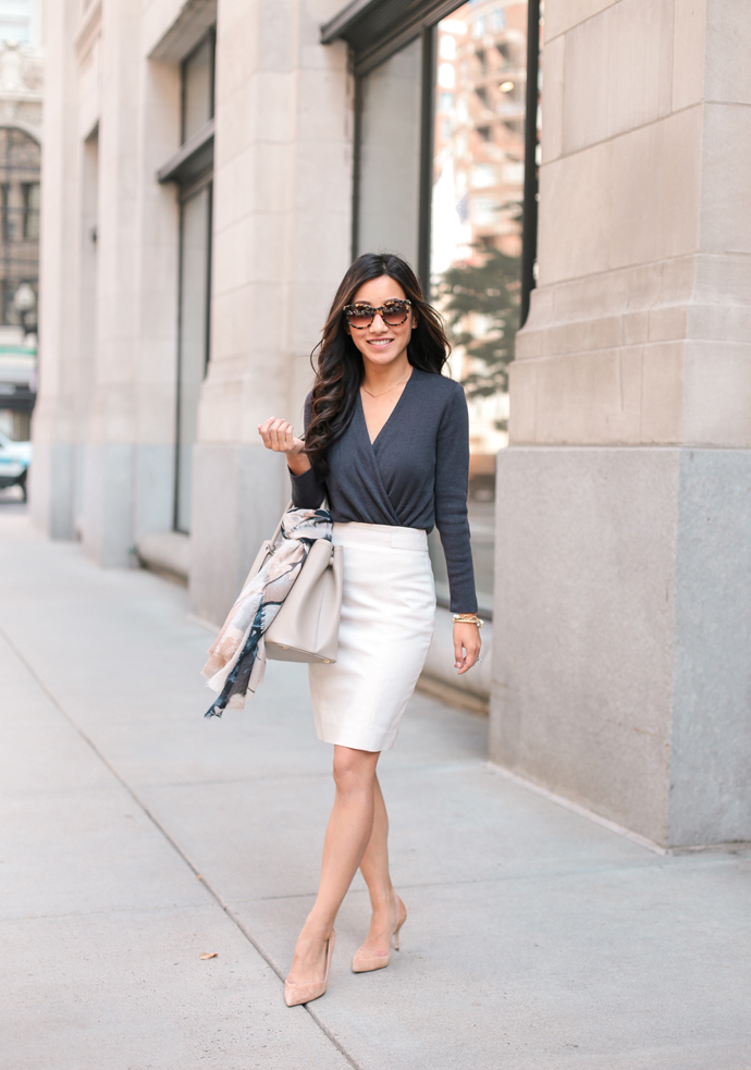 Wrap Cardigan Sweater Pencil Skirt beautifulfeed