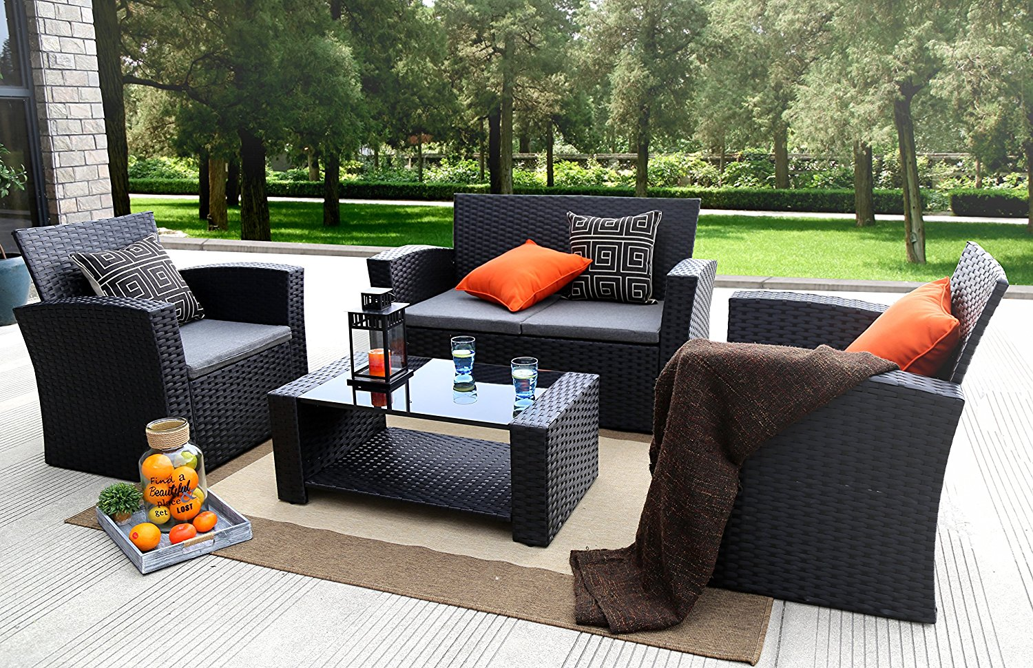 Outdoor Wicker Cushion Seating Set