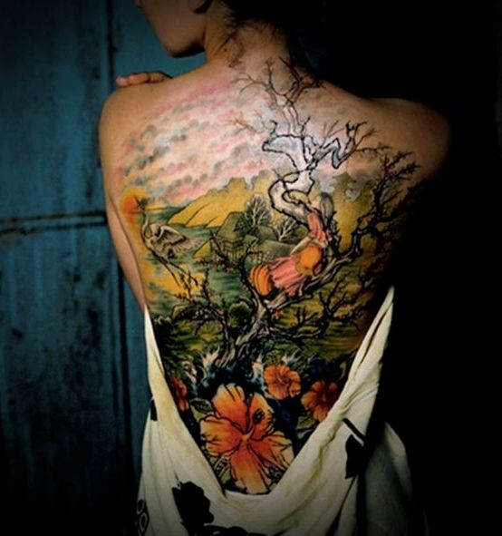 Cherry Blossom Tree Back Tattoo
