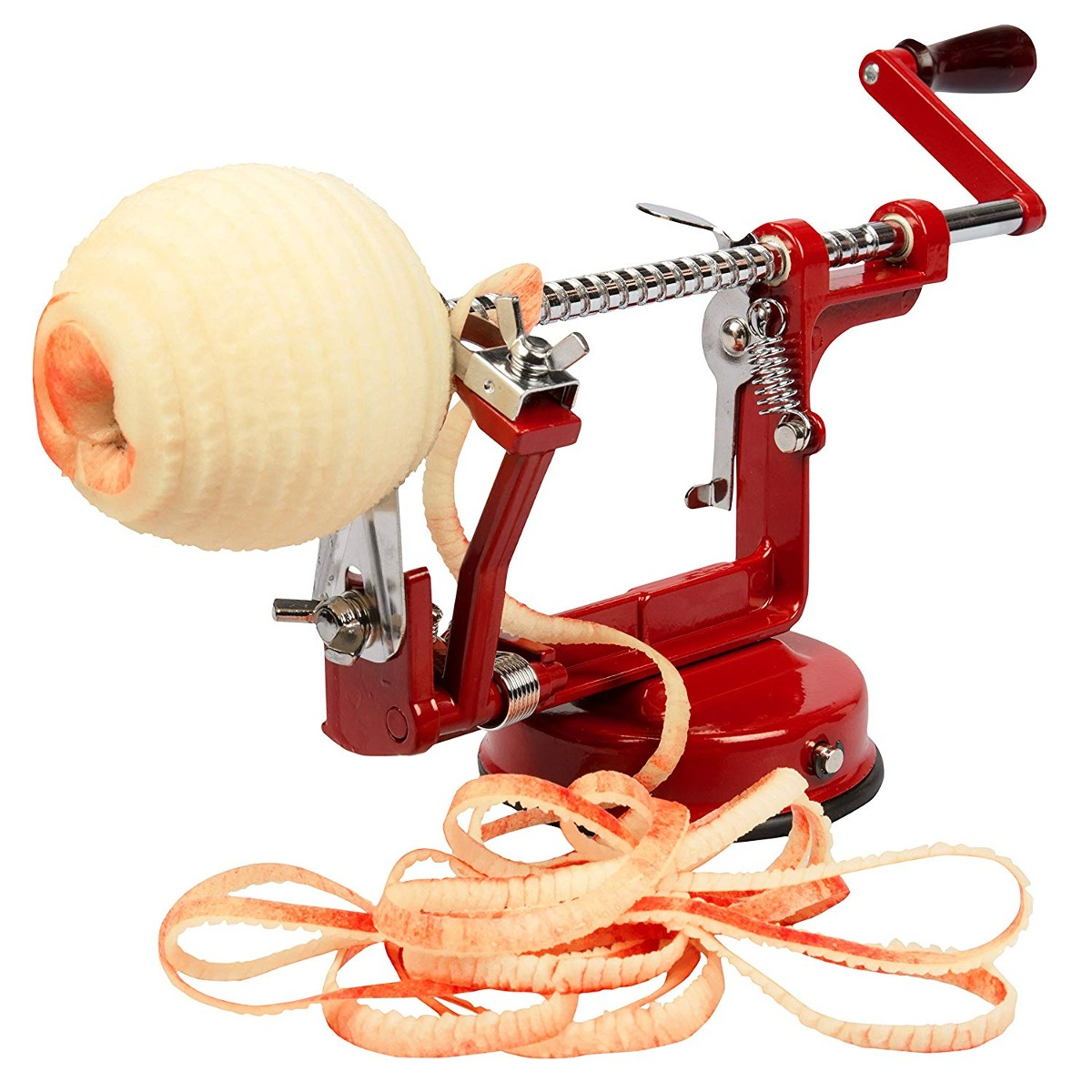 Steps to use an apple peeler