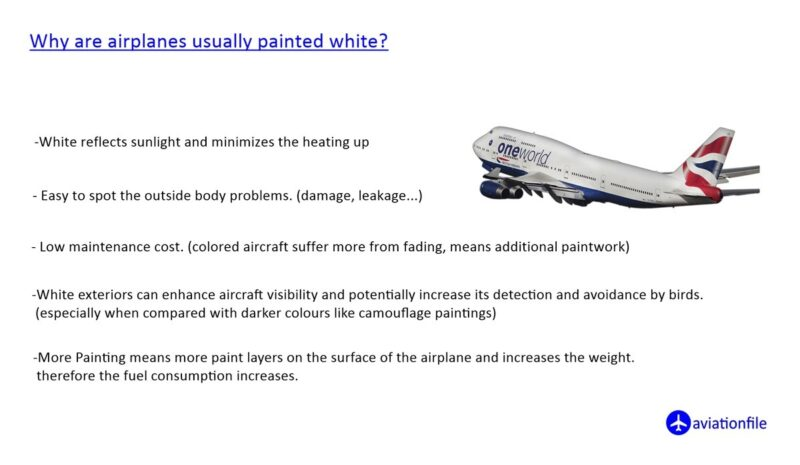 why are airplanes usually painted white