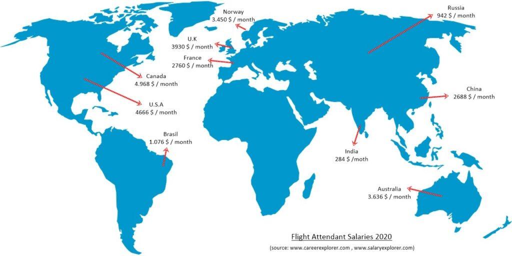 Flight Attendant Salary map