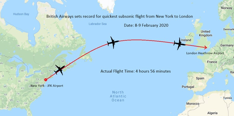 Fastest Subsonic Flight From New York to London