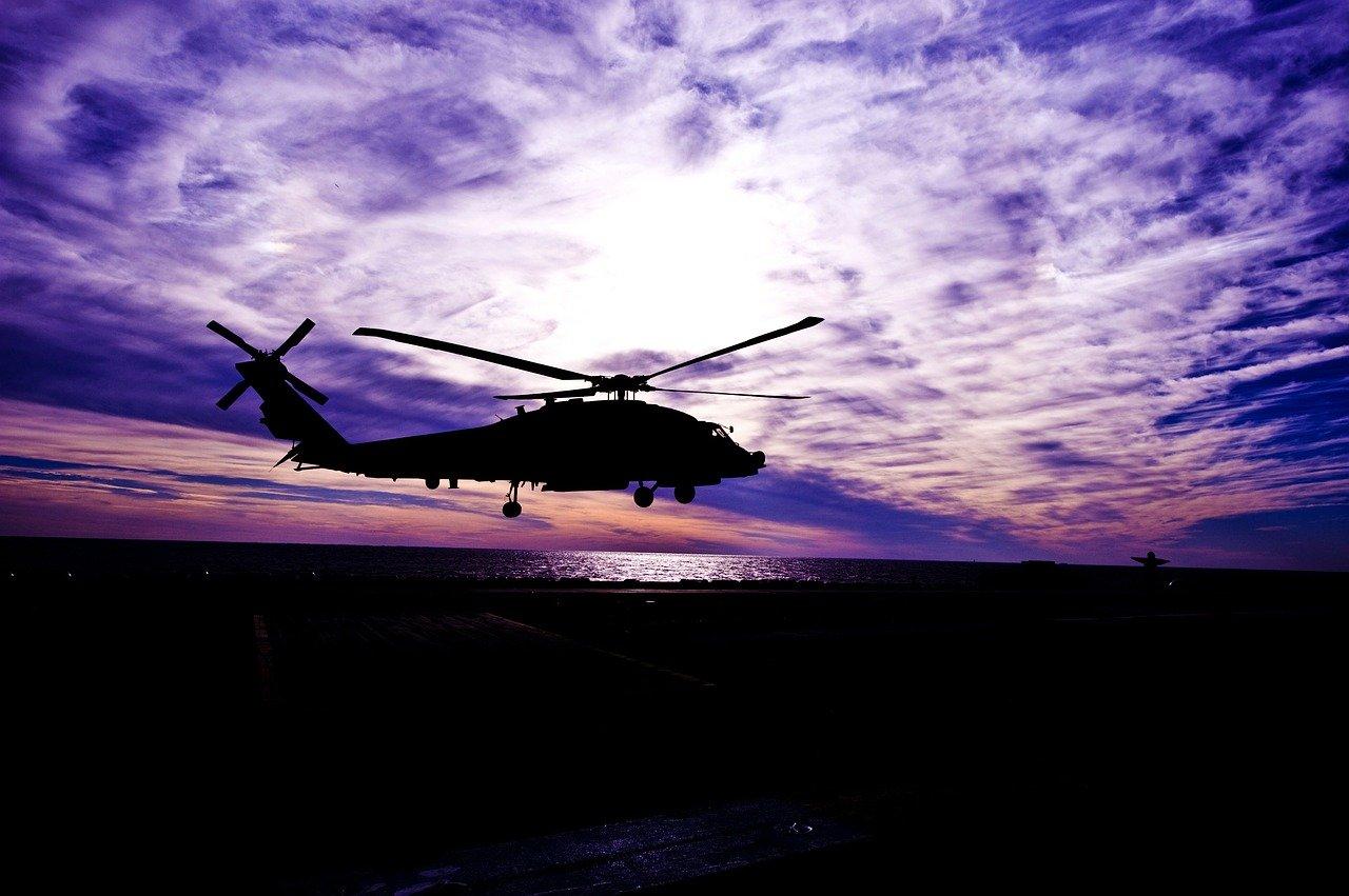 Sunset Helicopter Scene