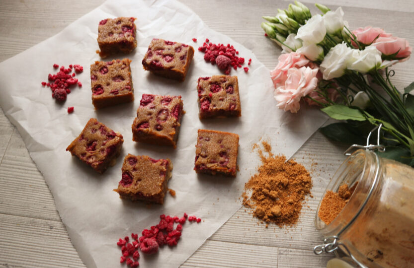 Raspberry & White Chocolate Blondies