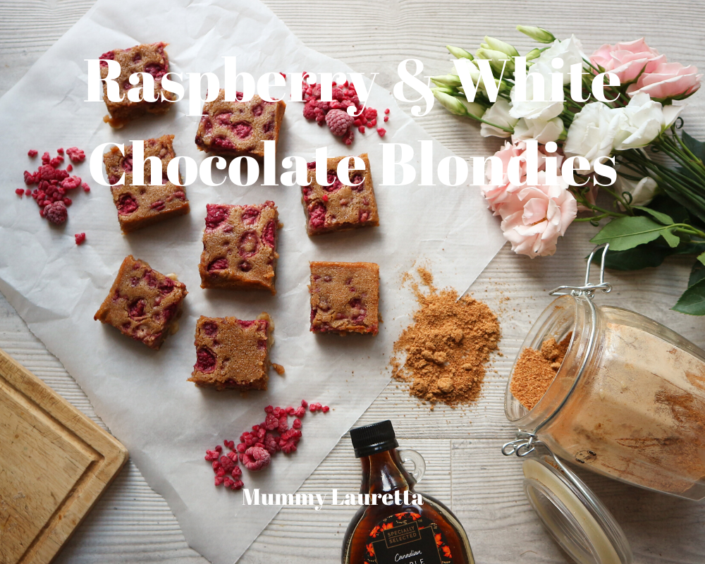 Raspberry & White Choc Blondies
