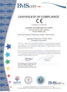 CE Certificate Temperature Instruments