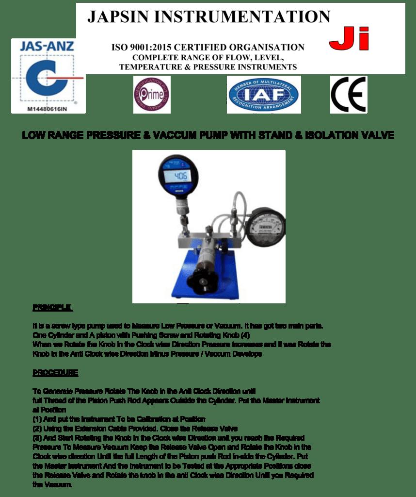 Low Range Pressure Calibrator