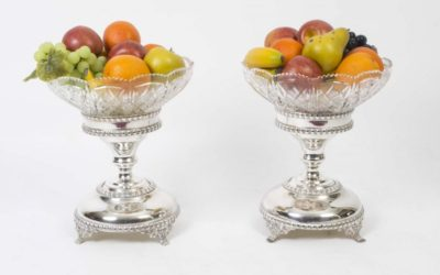 Pair English Silver Plate Compote Centrepieces