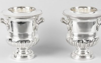 Pair English Silver Plate Wine Coolers