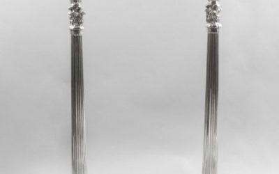 Pair Neo-Classical Large Silver Plated Candelabra 20th C