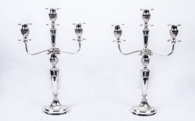 Pair Neoclassical Antique Silver Plated Candelabra c.1910
