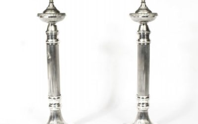 Pair Fluted Column Silver Plated Table Lamps