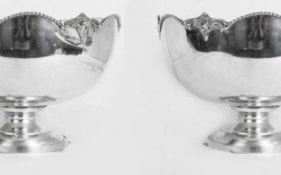 Silver Punch Bowls Scalloped Edges