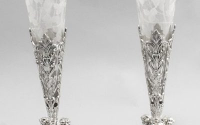 Cut Glass Silver Plated Epergne Vases