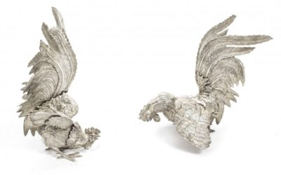 Pair French Antique Silver Plated Fighting Cockerels C 1880