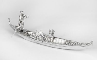 Antique Silvered Bronze Gondola with Gondolier – Late 19th C.