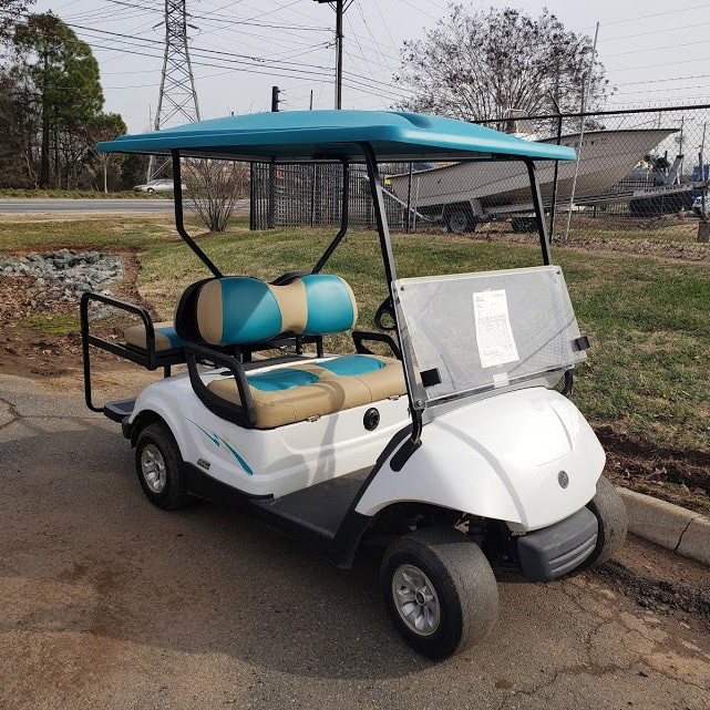 White-2016-Yamaha-Drive-AC-Teal-Seats-Front