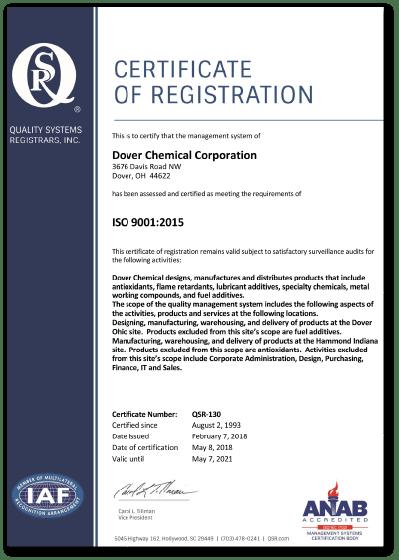 ISO 9001認証証明書