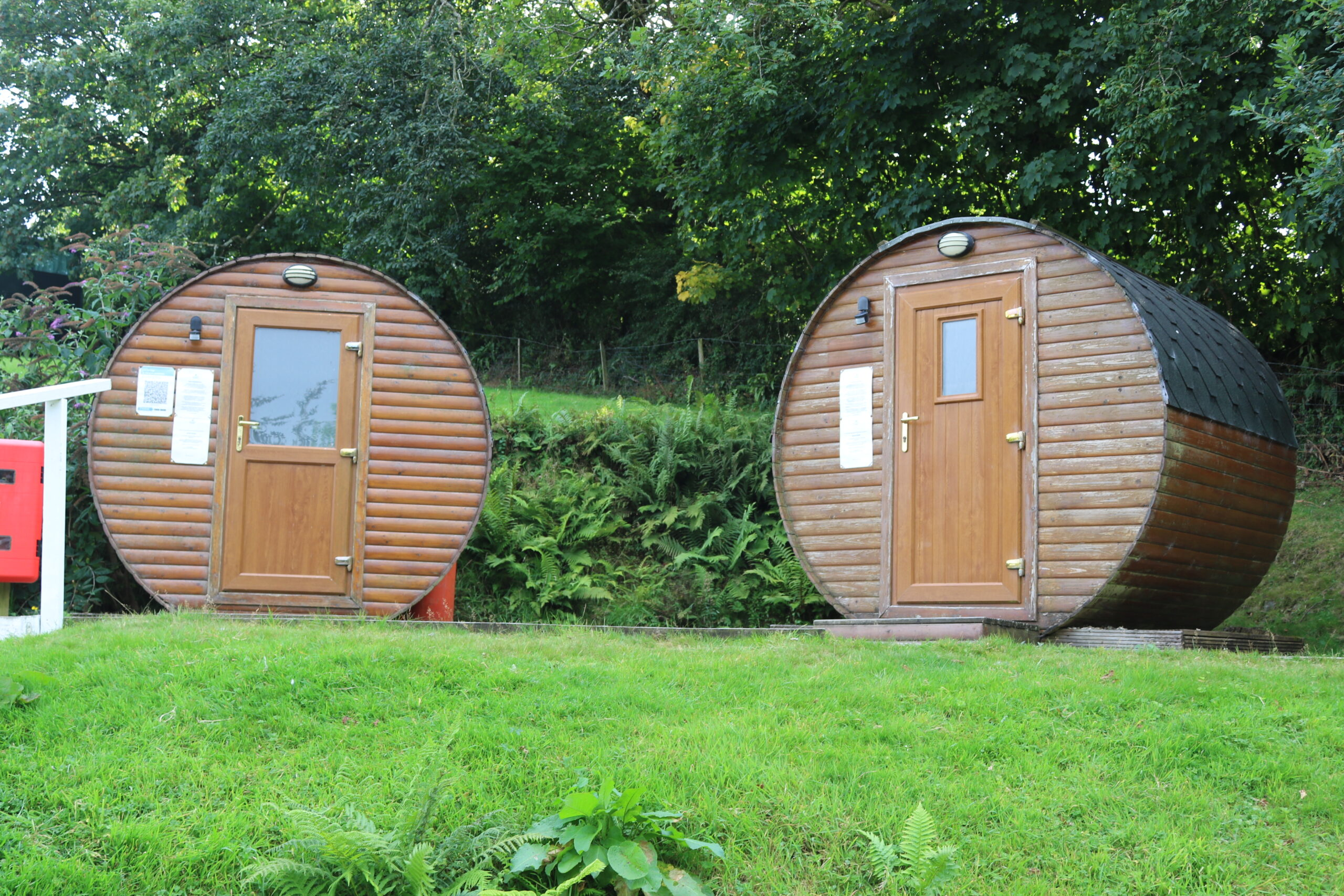 The hobbit huts house our toilet and shower