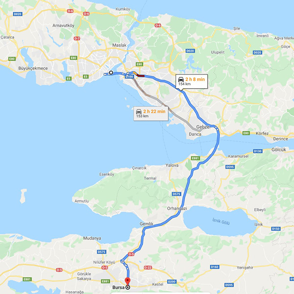 Istanbul to Bursa Taxi Service