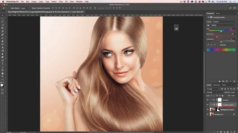 change hair color to red in Photoshop