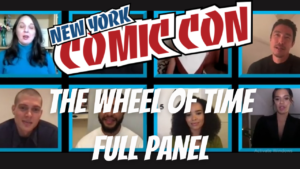 Watch The Whee of Time Panel at NYCC. Image of panel, with main cast and showrunner with the NYCC logo over the top