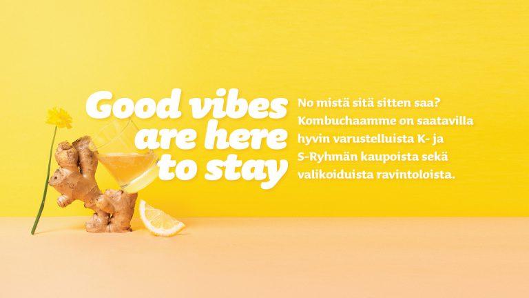 Good vibes are here to stay. No mistä sitä sitten saa? Kombuchaamme on saatavilla hyvin varustelluista K- ja S-ryhmän kaupoista sekä valikoiduista ravintoloista.