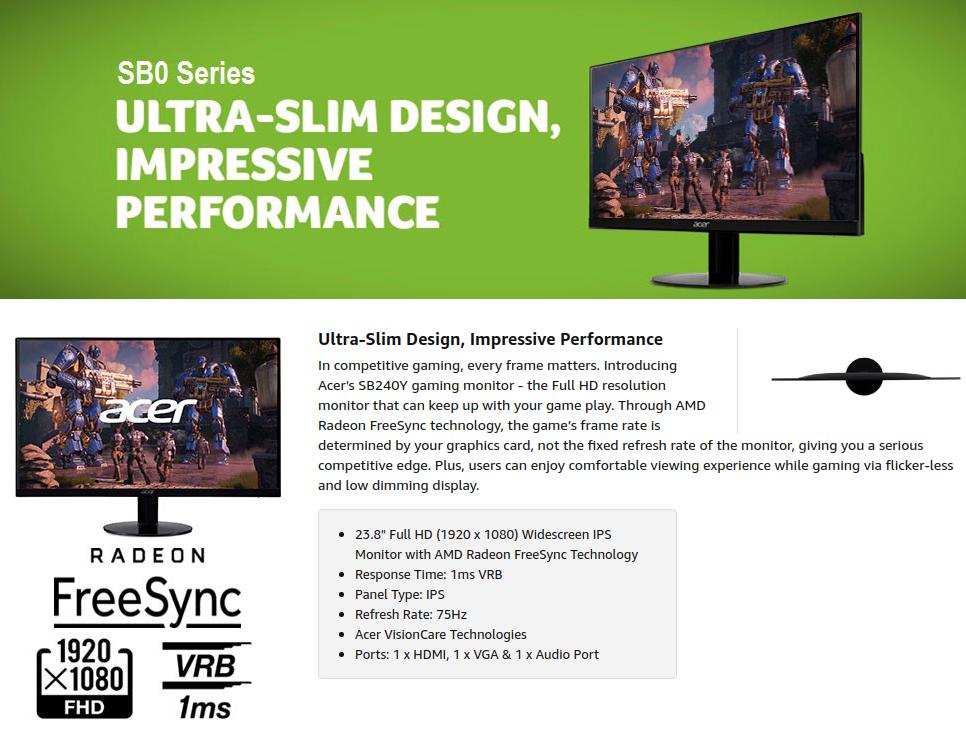 Acer SB240Y Bbix 24 inch Monitor