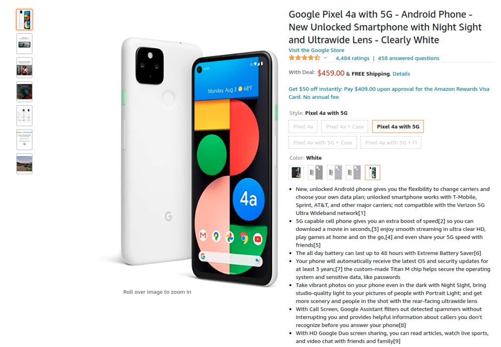 Google Pixel 4a 5G White