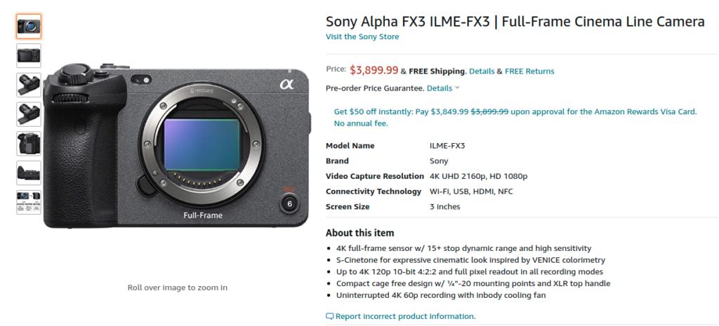 Sony Alpha FX3 ILME FX3 AMazon US Price