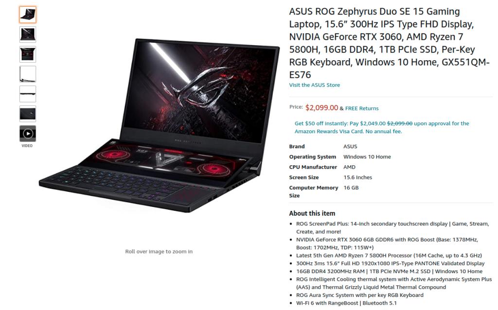 ASUS ROG Zephyrus Duo SE 15 GX551QM ES76 Amazon US Price