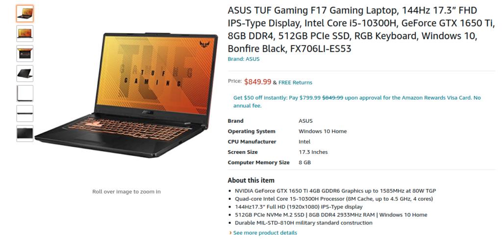 Asus FX706LI ES53 TUF Gaming F17