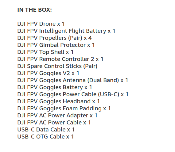 DJI FPV DRONE COMBO BOX CONTENTS