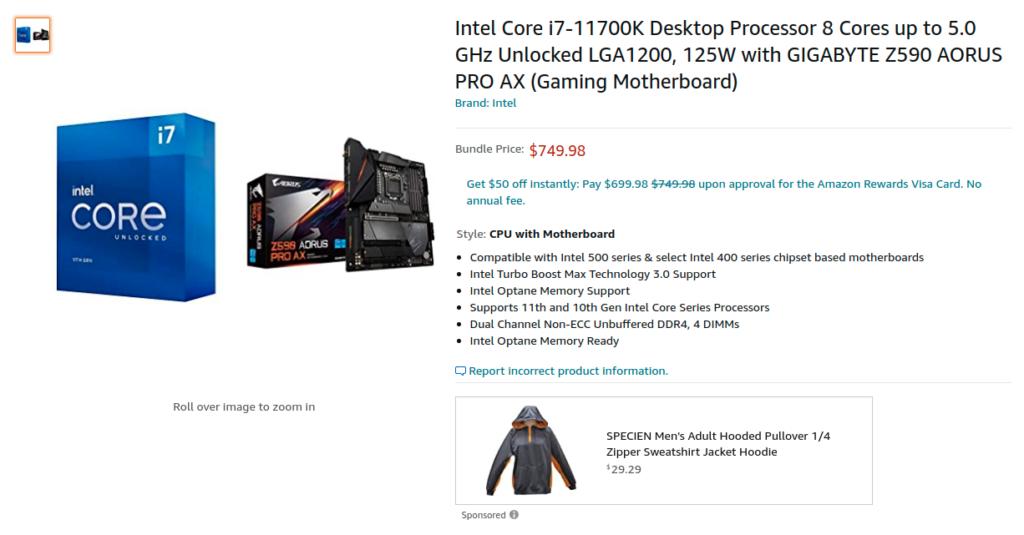 ntel Core i7 11700K Desktop Processor