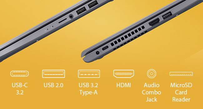Asus F515JA DS74 VivoBook 15 F515 POrts
