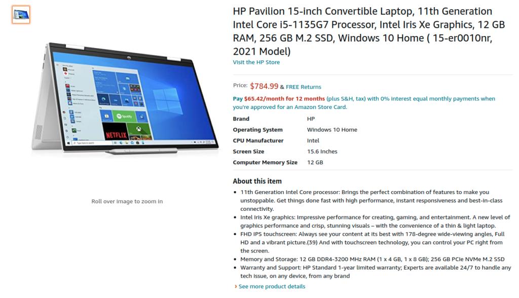 HP 15 er0010nr Pavilion x360 2021