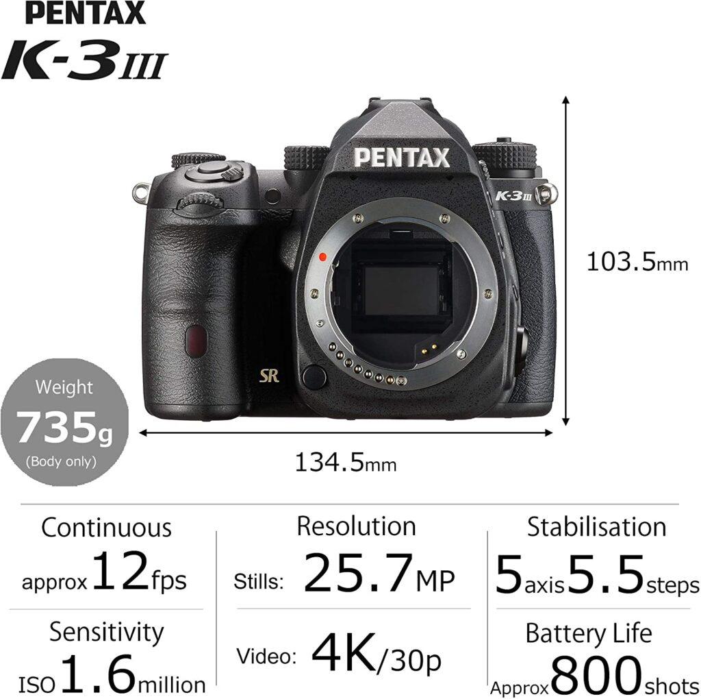 PENTAX K 3 Mark III Specs Amazon US Price