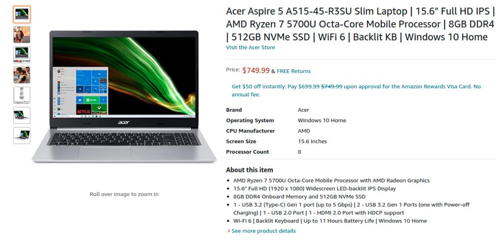 Acer Aspire 5 A515 45 R3SU