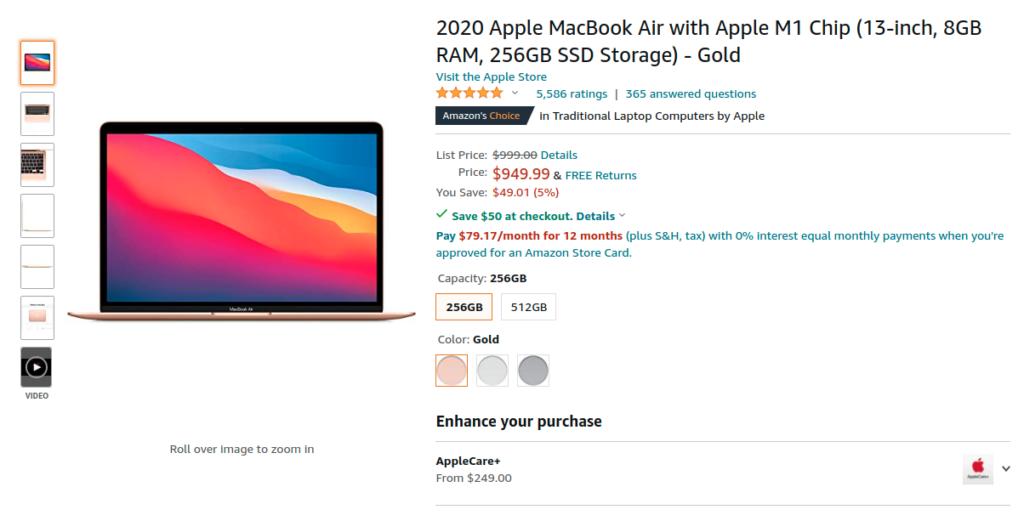 Apple Macbook Air 2020 M1 Chip Offer
