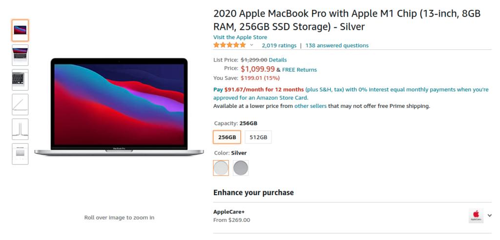 Apple Macbook Pro M1 Chip Offer Amazon US