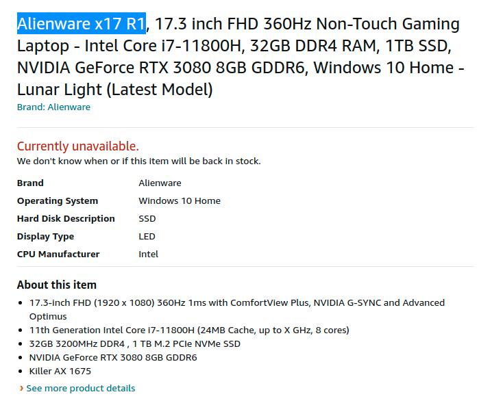 Dell Alienware x17 R1 Amazon US