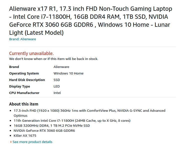 Dell Alienware x17 R1