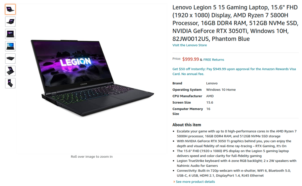 Lenovo Legion 5 82JW0012US